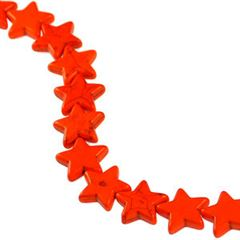 21x20mm Orange Dyed Howlite Star Beads (magnesite)