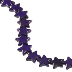 21x20mm Purple Dyed Howlite Star Beads (magnesite)
