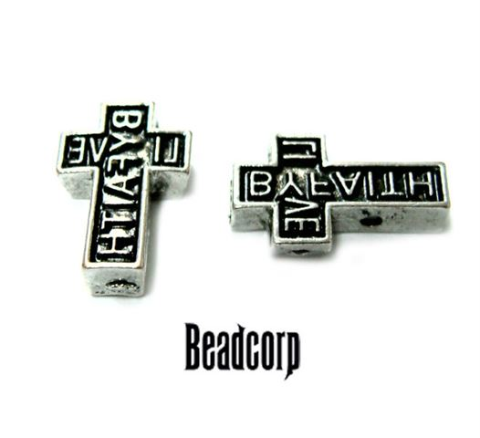 16x10mm Live By Faith Cross Beads 2-hole (inverted)