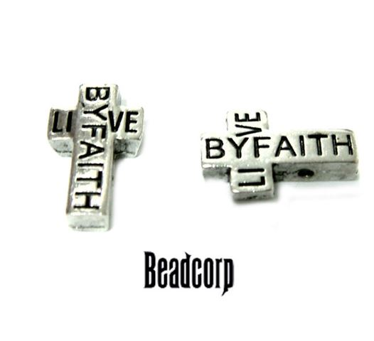 16x10mm Live By Faith Cross Beads 2-hole