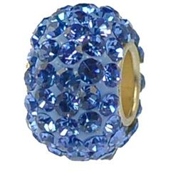 12x7mm Large Hole Crystal Pave Beads AA grade -- Light Sapphire