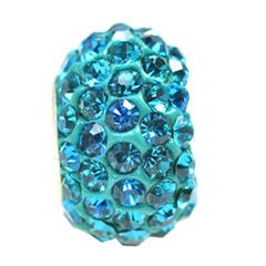 12x7mm Large Hole Crystal Pave Beads AA grade -- Blue Zircon
