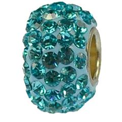 12x7mm Large Hole Crystal Pave Beads AA grade -- Aquamarine