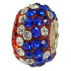 12x7mm Large Hole Crystal Pave Beads AA grade -- Patriotic