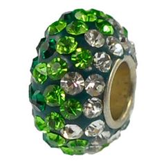 12x7mm Large Hole Crystal Pave Beads AA grade -- Mixed Emerald