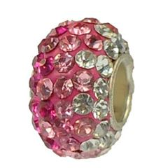 12x7mm Large Hole Crystal Pave Beads AA grade -- Mixed Rose