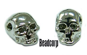 5.5mm Nickel Plated Mini Skull Beads - 10 pcs.