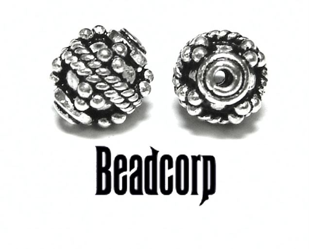 9mm Sterling Silver Bali Bead