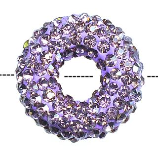 20x7mm Pave Crystal Doughnut Beads - Light Amethyst