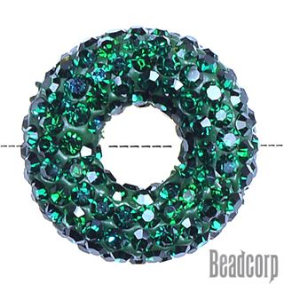 20x7mm Pave Crystal Doughnut Beads - Emerald