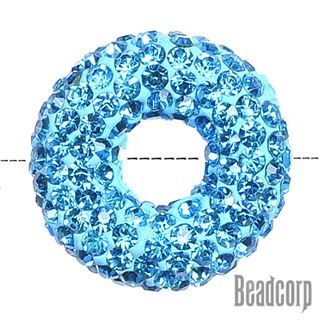 20x7mm Pave Crystal Doughnut Beads - Aquamarine