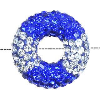 20x7mm Pave Crystal Doughnut Beads - Light Sapphire / Crystal Mix