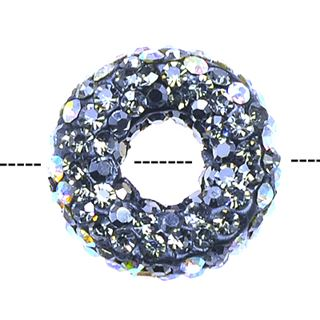 20x7mm Pave Crystal Doughnut Beads - Crystal Ab / Jet / Black Diamond Mix
