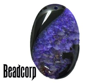Agate with Druzy Pendant Purple 35x55mm Oval