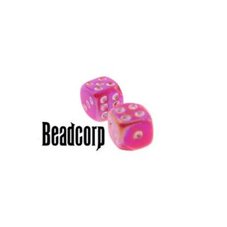 Pink AB Dice Beads each