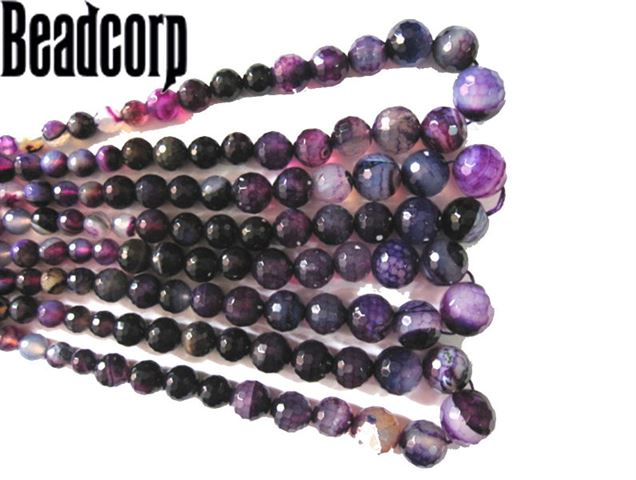 COLORED AGATE PURPLE FACETED GRADUATED BEADS 6-16MM