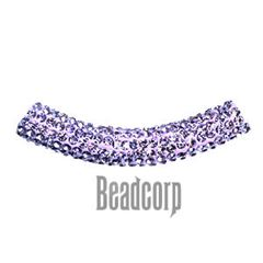10x53mm Pave Crystal Tubes - Light Amethyst