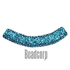 10x53mm Pave Crystal Tubes - Blue Zircon