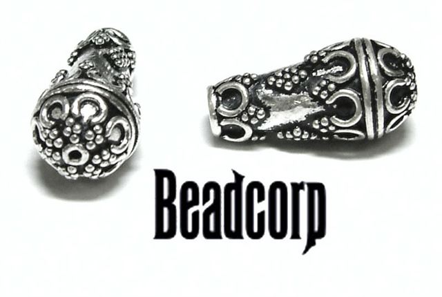 20x10mm Sterling Silver Bali Bead