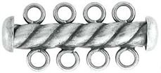 4.3x26mm Sterling Silver Tube Bar Clasp 4-Hole (Oxidized Twisted)