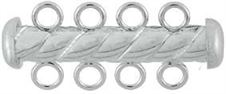 4.3x26mm Sterling Silver Tube Bar Clasp 4-Hole (Twisted)