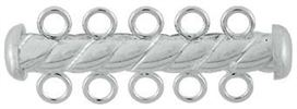 4.3x32mm Sterling Silver Tube Bar Clasp 5-Hole (Twisted)