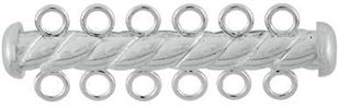 4.3x36mm Sterling Silver Tube Bar Clasp 6-Hole (Twisted)