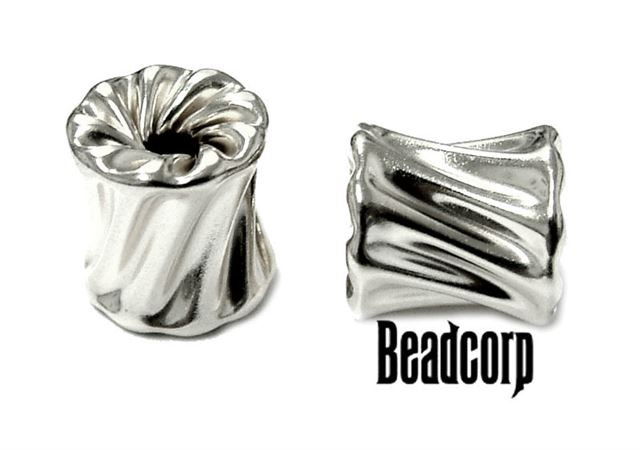 10x10 Sterling Silver Twisted Cubix Bead