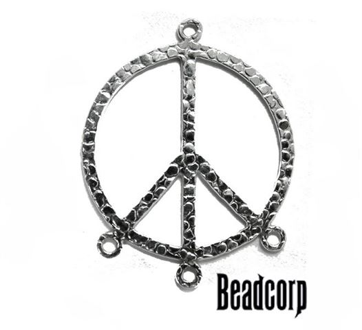 25mm Silver Filled Hammered Peace Charm