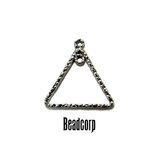 14mm Silver Filled Textured Triangle Component