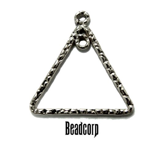 17mm Silver Filled Textured Triangle Component