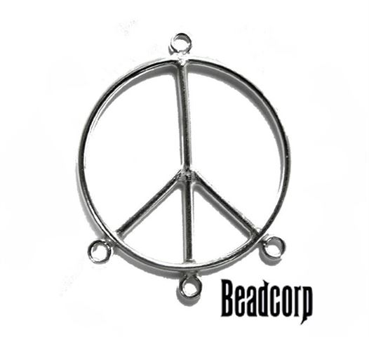 25mm Silver Filled Plain Peace Charm