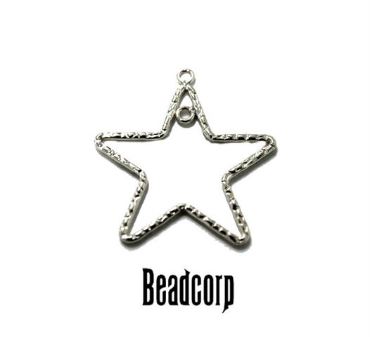 24mm Silver Filled Textured Star Charm Component