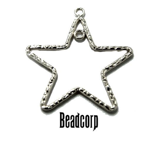 30mm Silver Filled Textured Star Charm Component