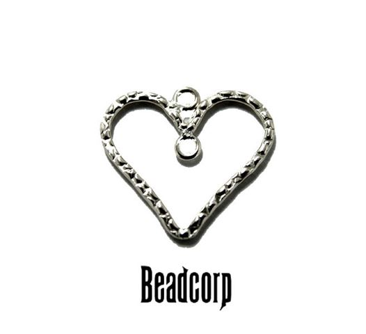 16mm Silver Filled Textured Heart Charm Component
