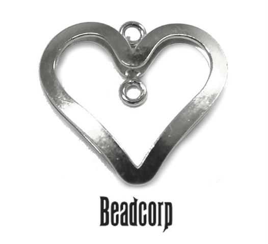16mm Silver Filled 3D Heart Component