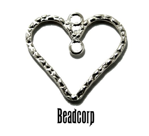 25mm Silver Filled Textured Heart Charm Component