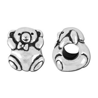 12x9mm Silver Teddy Bear Large Hole Bead - Tierracast