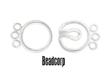 13mm Sterling Silver Interlocking Circle Clasp (3-strand)