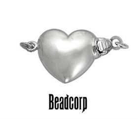 12.8mm Sterling Silver Puff Heart Clasp
