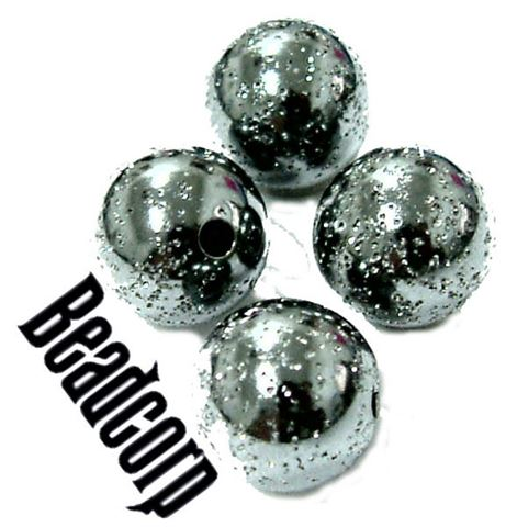 8mm Sterling Silver Oxidized Glitter Beads