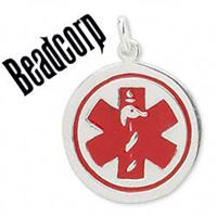 Sterling Silver 23mm Round Medical ID Tag Alert