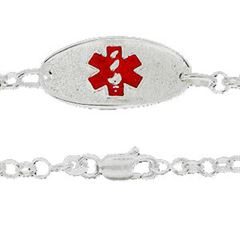 Sterling Silver Medical ID Tag Alert Plate Bracelet