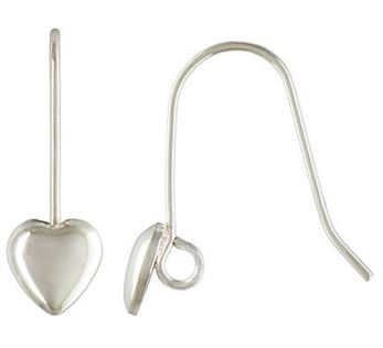 Sterling Silver Puffed Heart Earwire (pair)