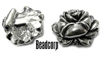 22x26mm Sterling Silver Rose Bud Bead/Charm