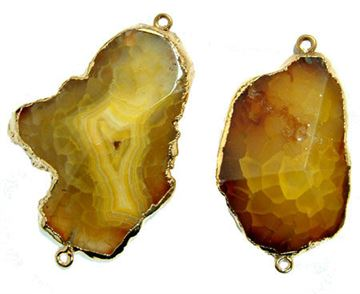 30-40mm Amber Snake Skin Agate Free Form Connector - 2 Hole