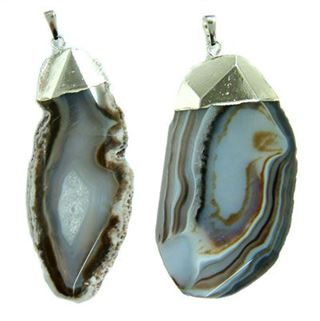 40-60mm Brown Striped Agate Silver Pendant