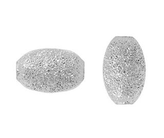 6.5x4mm Sterling Silver Stardust Oval Beads