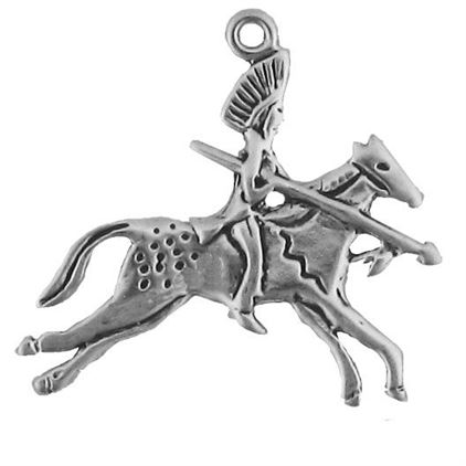 Sterling Silver Chief on Horse Charm