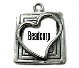 18x16mm Sterling Silver Heart Picture Frame Charm